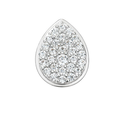 Mini Coin Locket with Pave Set White Cubic Zirconia in Sterling Silver
